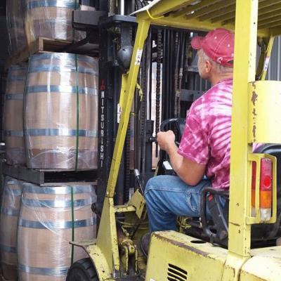 Receiving a new shipment of barrels